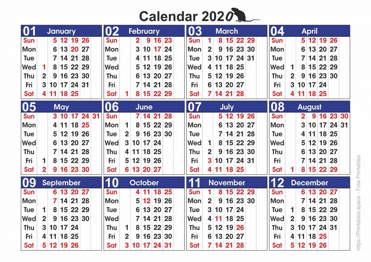 2020 Calendar with Holidays
