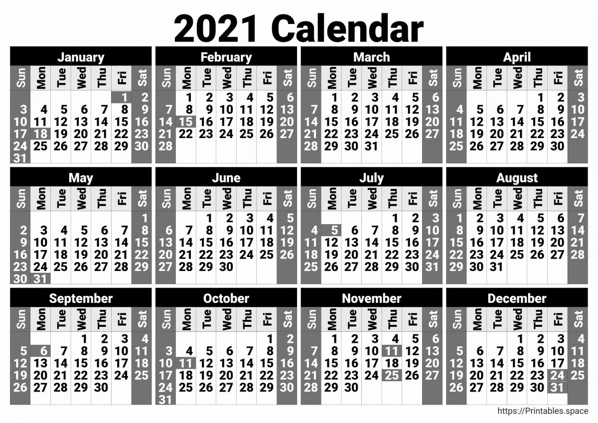 Black and White 2021 Calendar