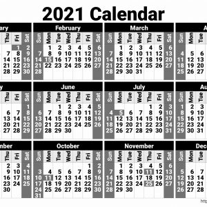 Black and White 2021 Calendar