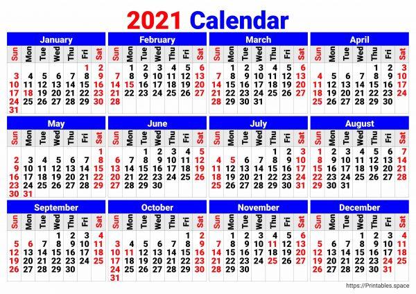 2021 Clendar, big numbers