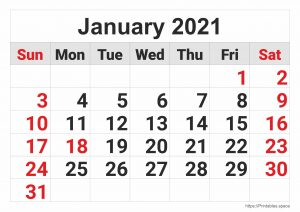 2021 Monthly Calendar: January