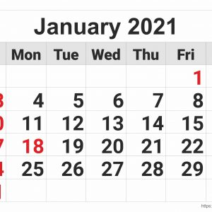 2021 Monthly Calendar: January