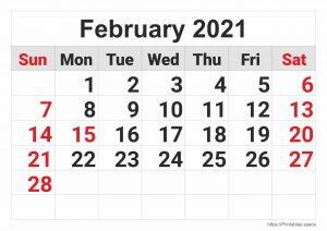 February 2021 - Monthly Calendar