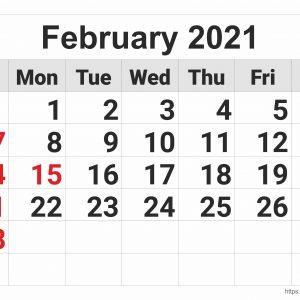 February 2021 Monthly Calendar