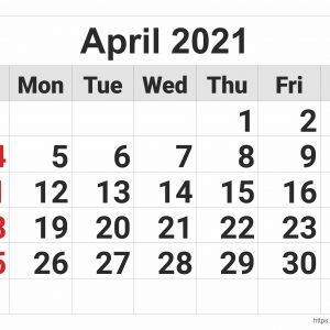 April 2021 Monthly Calendar