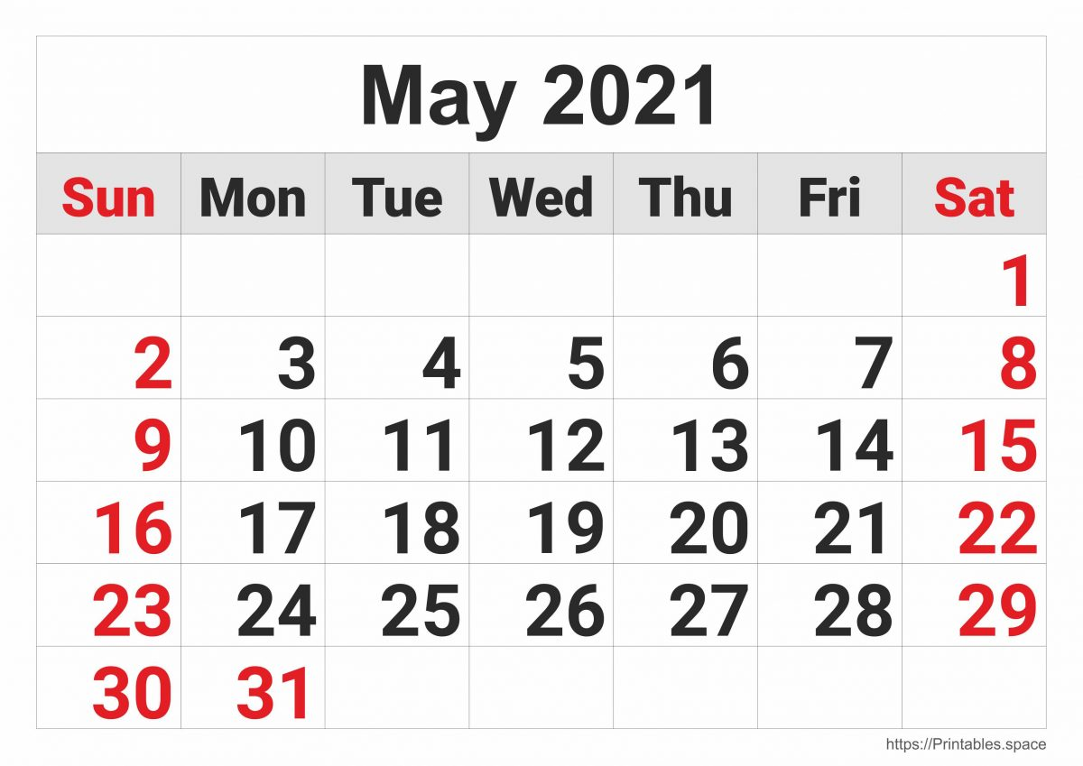 Monthly Calendar: May 2021