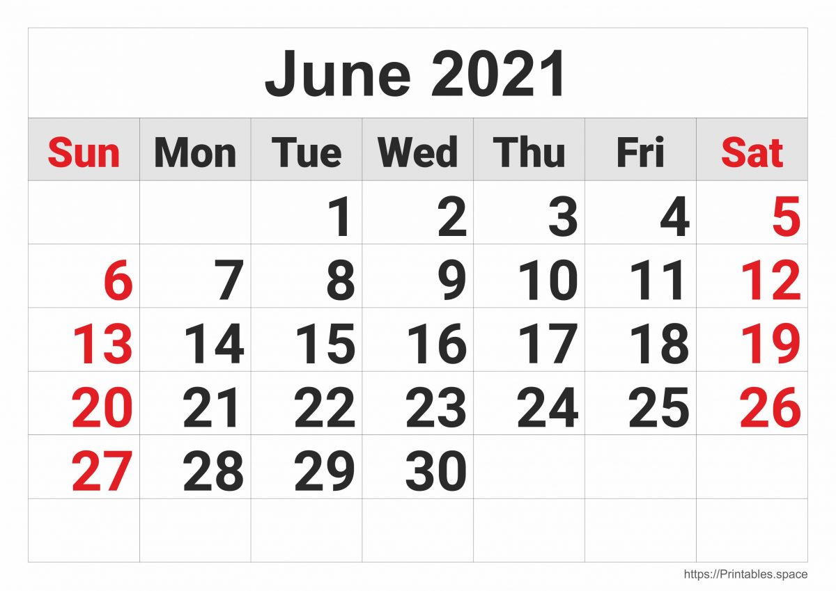 June 2021 Monthly Calendar