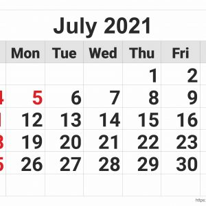 July 2021 Monthly Calendar