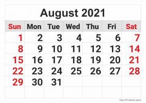 August 2021 Monthly Calendar