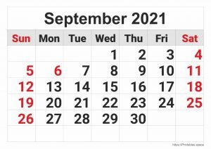 September 2021 Monthly Calendar