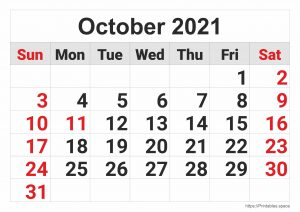 October 2021 Monthly Calendar