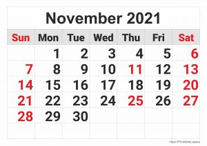 November 2021 Monthly Calendar