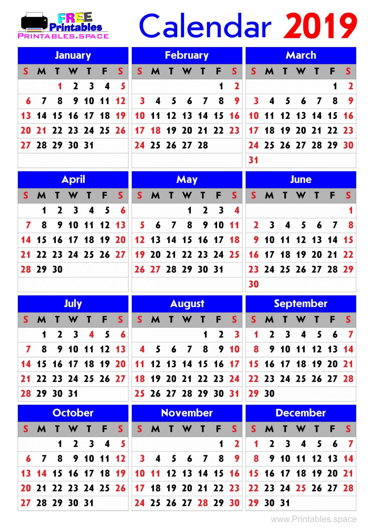Year 2019 Calendar