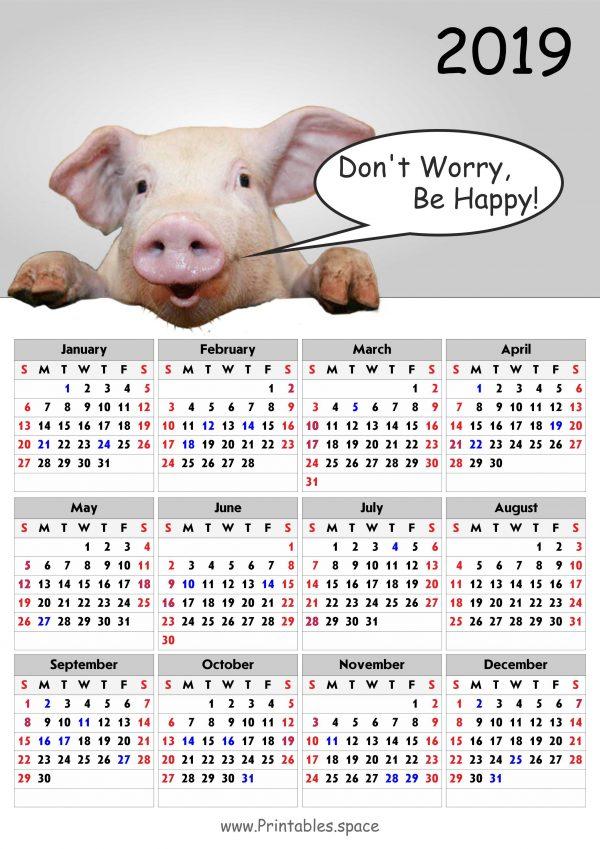 Pig Calendar For 2019