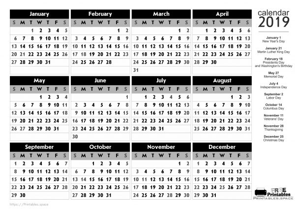 Free Printable Calendar 2019 With American Holidays