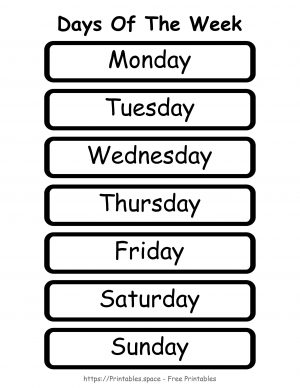 Days Of The Week (Staring With Monday)