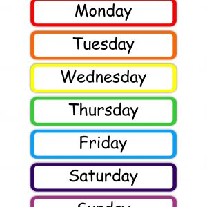 Colorful Days Of The Week Chart (Starting With Monday)