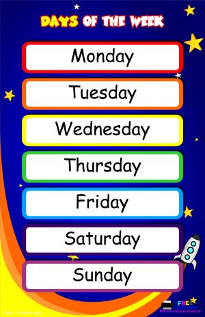 Colorful Days Of The Week Poster