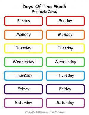 Days Of The Week Cards or Labels