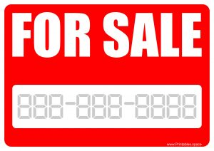 For Sale Sign - Printable Template with Red Background
