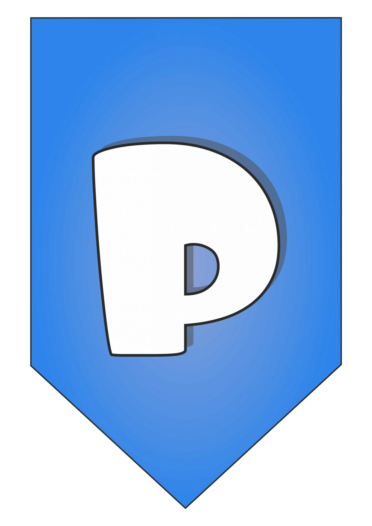 Letter P on blue background for Happy Birthday Banner