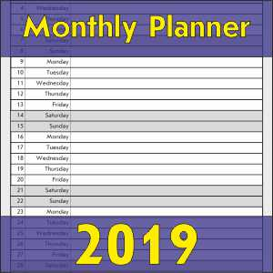 Monthly Planner 2019 Printable Templates
