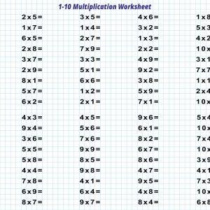 1-10 Multiplication Worksheet