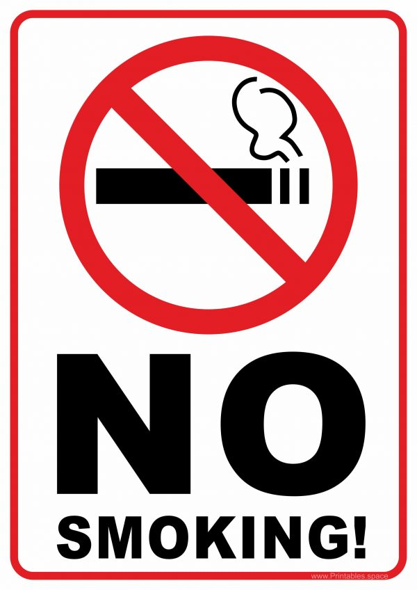 Fabulous image with free printable no smoking signs