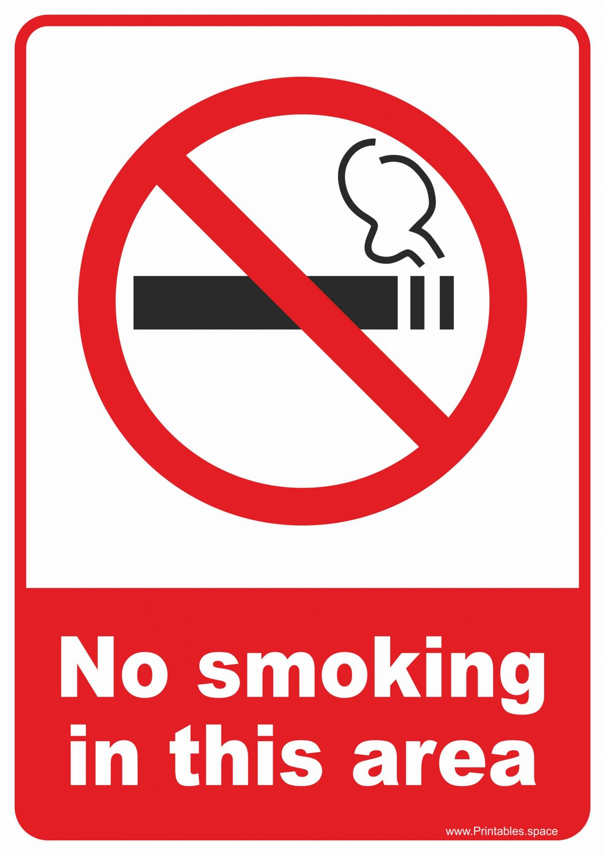 "Sign ""No smoking in this area"""