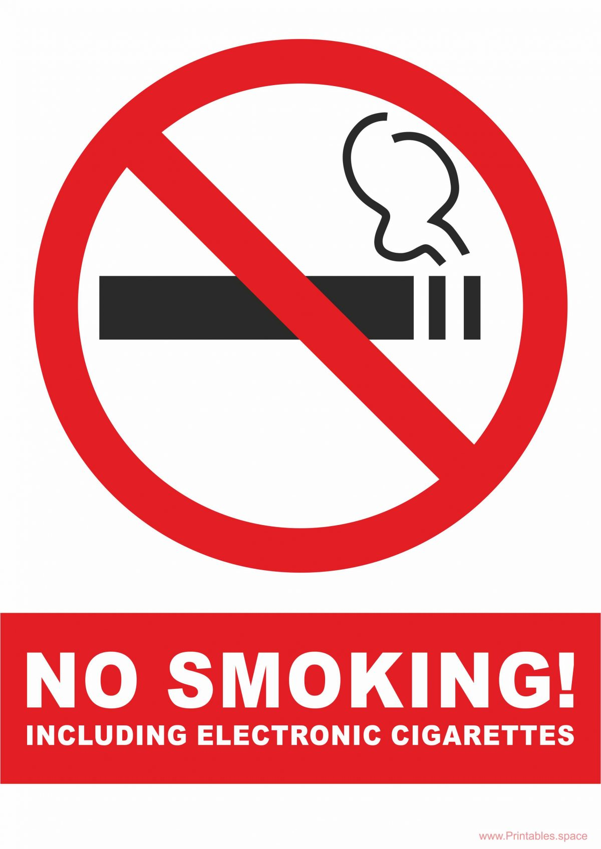 No Smoking Including Electronic Cigarettes Sign