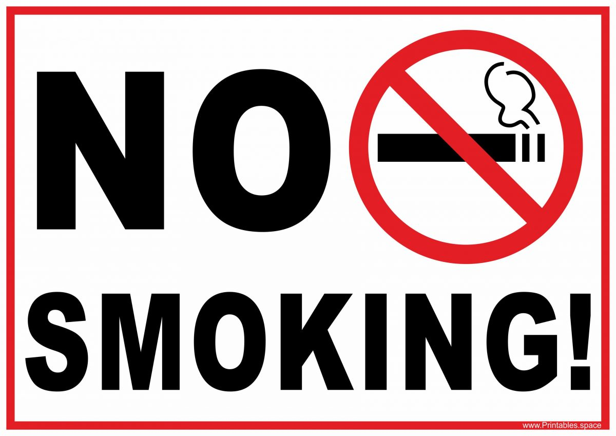 Witty image within free printable no smoking signs