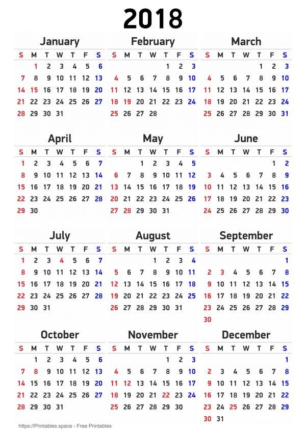 Free Printable Calendar 2018 With American Holidays