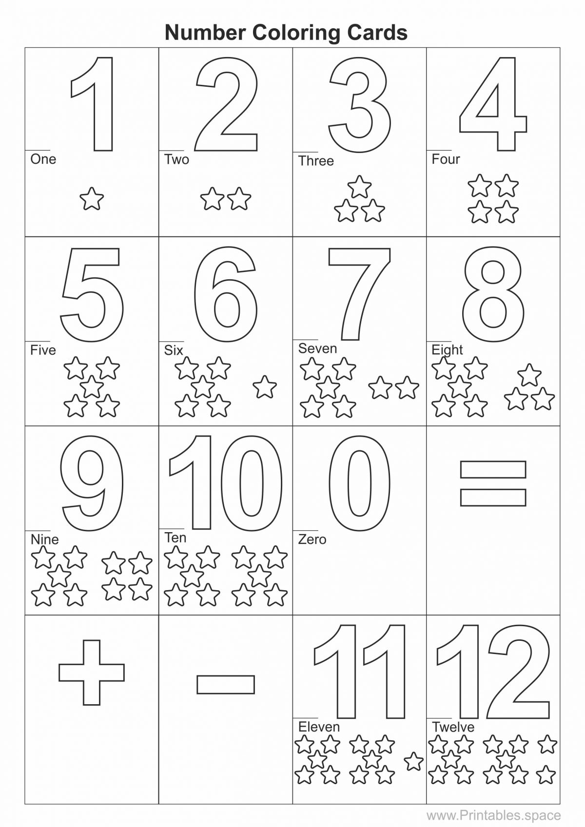 Number coloring cards