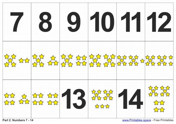 Printable Number Flashcards 7 - 14
