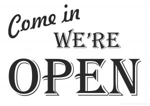 Come In, We're Open - Printable plate