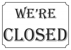Sign We're closed