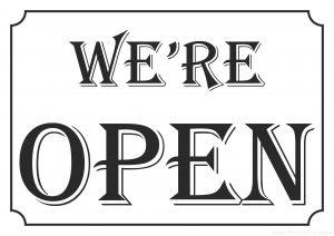 Sign We're open