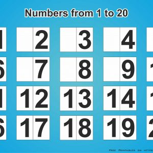 Printable Numbers 1-20 with blue background