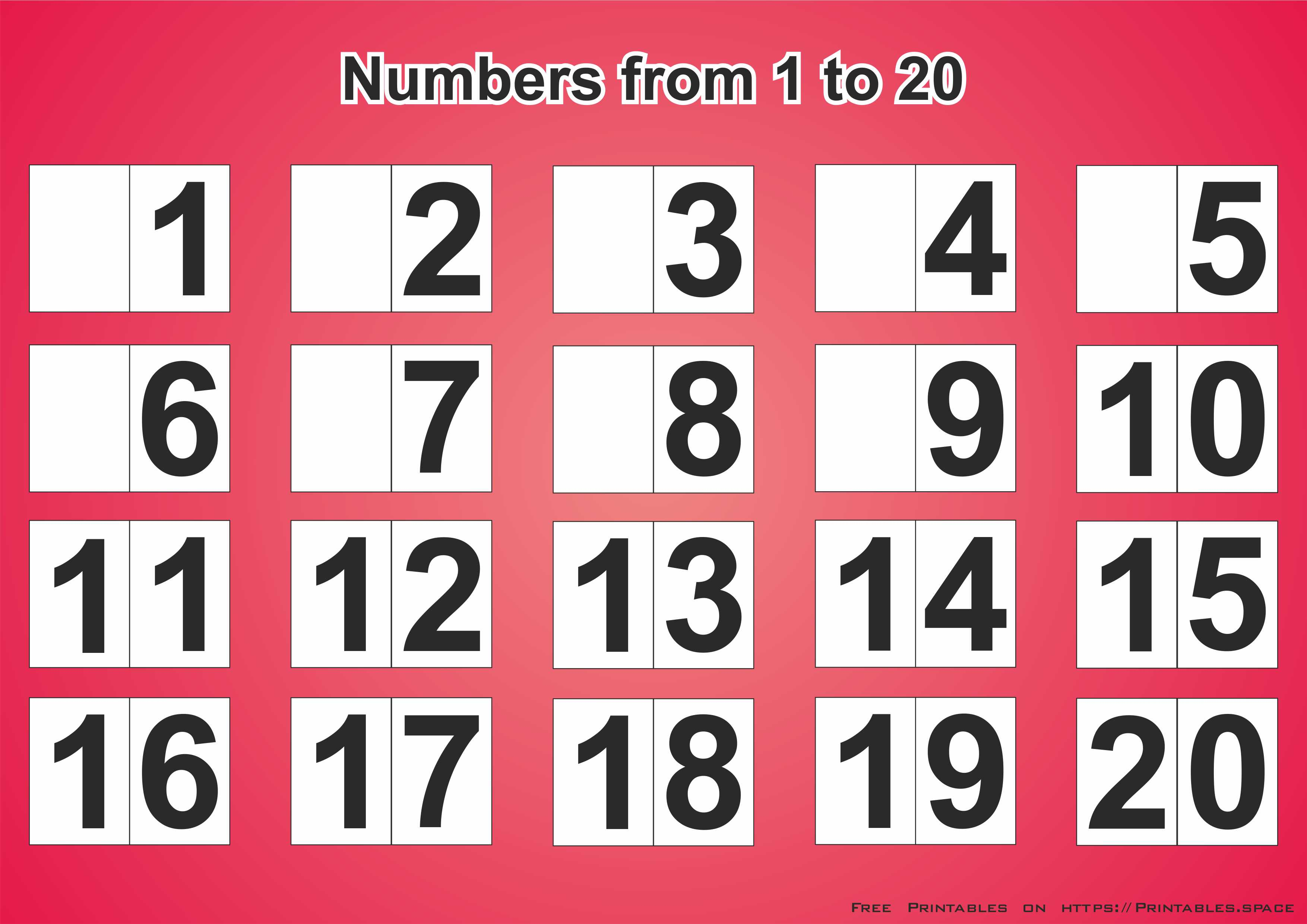 This is a graphic of Printable Numbers 1-20 within big