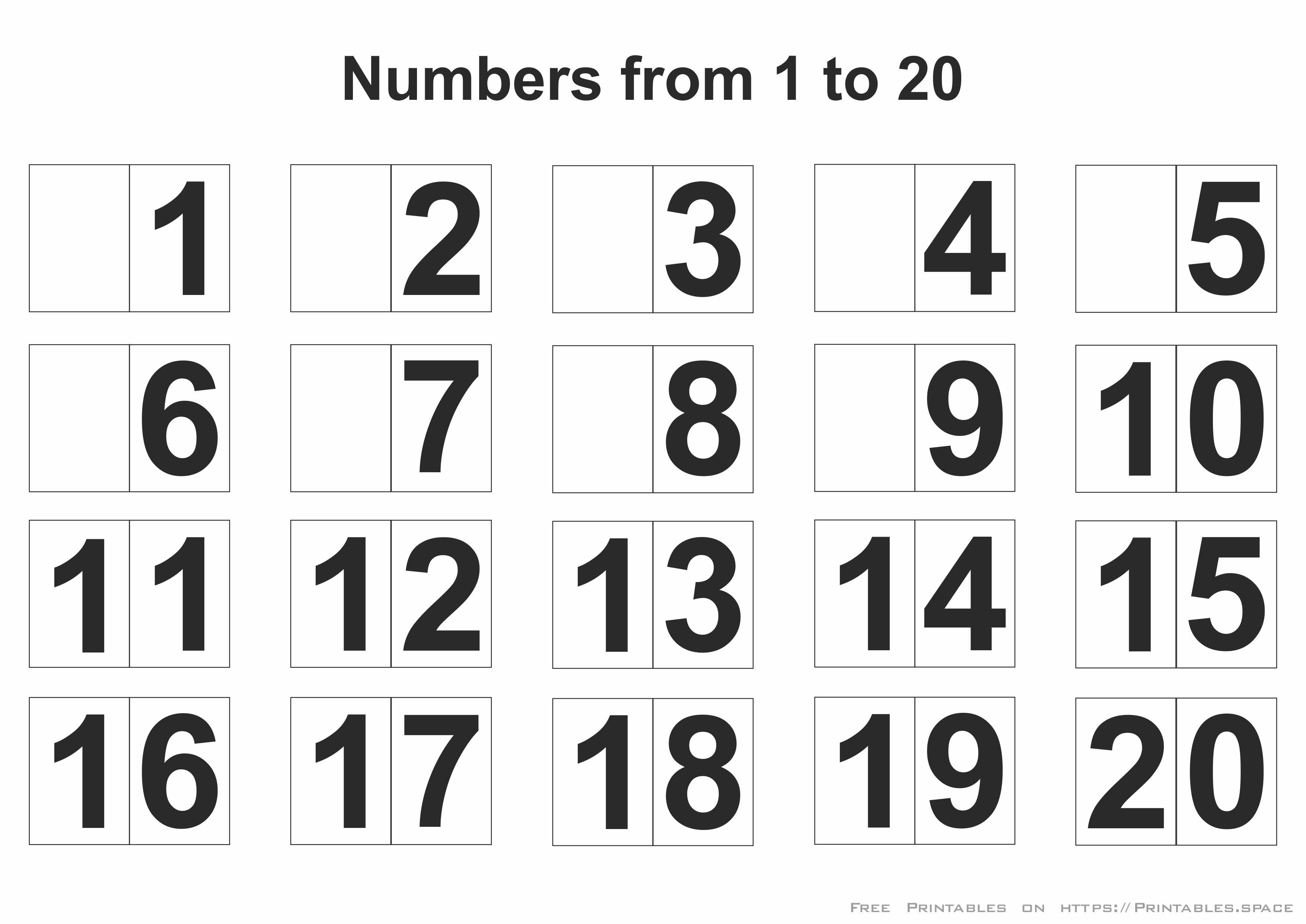 photo relating to Free Printable Numbers 1-20 identified as Printable Figures 1-20 - Totally free Printables