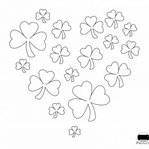 Shamrock Heart Coloring Page Template