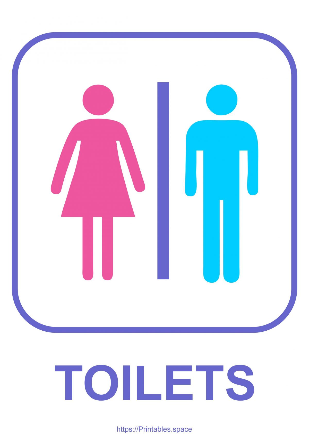 Free Toilets Sign Color Printable