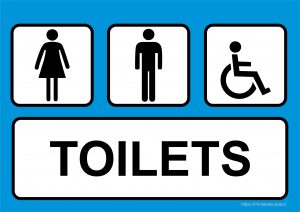 Man, Woman And Invalid One Toilet Sign Printable (with Blue Color)