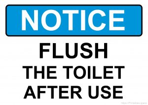 Flush The Toilet After Use (Blue background)