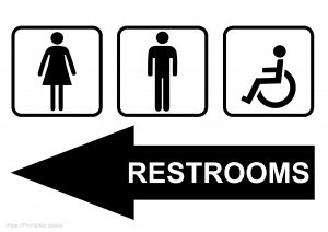 Free Printable Restroom Sign With Left Arrow