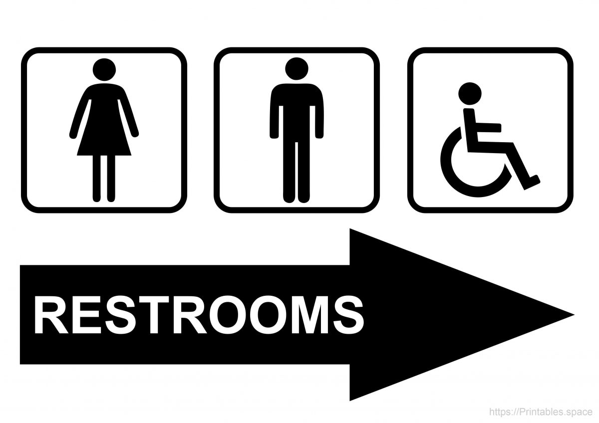 Free Printable Restroom Sign With Right Arrow