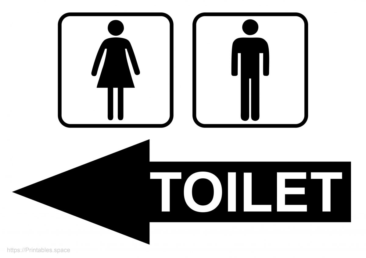 Toilet Sign With Right Arrow