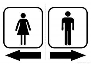 Toilets Arrows Women Left / Men Right